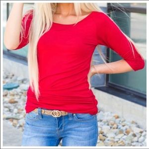 Red Side Shirring Tunic Top!